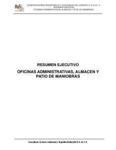 OFICINAS ADMINISTRATIVAS, ALMACEN Y PATIO DE MANIOBRAS