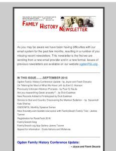 Ogden Family History Conference Update: