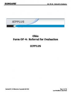 OH: PR-04 Referral for Evaluation. Ohio Form OP-4: Referral for Evaluation IEPPLUS