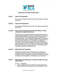 Ohio Distance Learning Association Bylaws. The name of the organization shall be known as Ohio Distance Learning Association