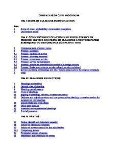 OHIO RULES OF CIVIL PROCEDURE
