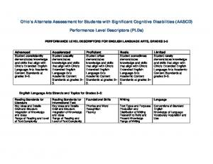 Ohio s Alternate Assessment for Students with Significant Cognitive Disabilities (AASCD) Performance Level Descriptors (PLDs)