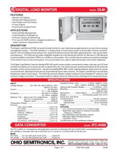 OHIO SEMITRONICS, INC. DIGITAL LOAD MONITOR DATA CONVERTER SPECIFICATIONS
