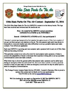 Ohio State Parks On The Air Contest - September 12, 2016