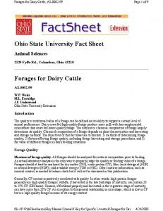 Ohio State University Fact Sheet. Forages for Dairy Cattle, AS Animal Sciences Fyffe Rd., Columbus, Ohio