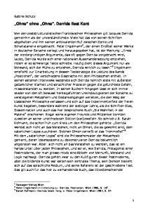 Ohne ohne Ohne. Derrida liest Kant
