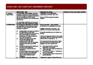 OHSAS 18001: 2007 CLIENT SELF ASSESSMENT CHECKLIST