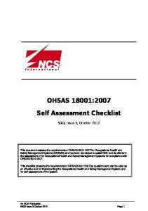 OHSAS 18001:2007 Self Assessment Checklist