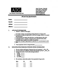 Oil and Gas Questionnaire