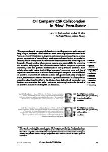 Oil Company CSR Collaboration in New Petro-States