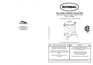 OIL FREE TURKEY ROASTER OPERATION MANUAL & SAFETY INSTRUCTIONS MODEL: