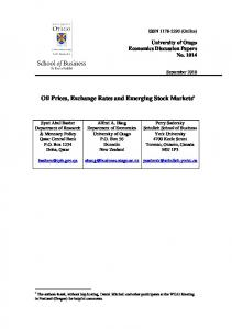 Oil Prices, Exchange Rates and Emerging Stock Markets