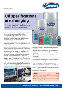 Oil specifications are changing