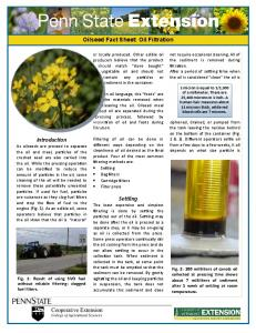 Oilseed Fact Sheet: Oil Filtration