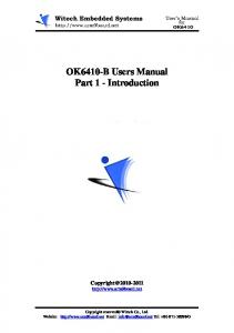 OK6410-B Users Manual Part 1 - Introduction