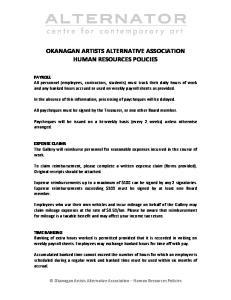 OKANAGAN ARTISTS ALTERNATIVE ASSOCIATION HUMAN RESOURCES POLICIES