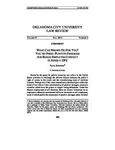 OKLAHOMA CITY UNIVERSITY LAW REVIEW