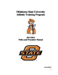 Oklahoma State University Athletic Training Program Policy and Procedure Manual