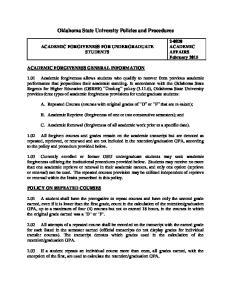 Oklahoma State University Policies and Procedures