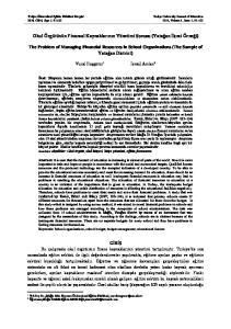 Okul Örgütünün Finansal Kaynaklarının Yönetimi Sorunu (Yatağan İlçesi Örneği)