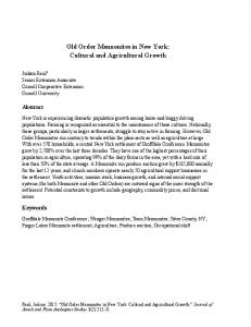 Old Order Mennonites in New York: Cultural and Agricultural Growth