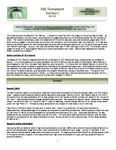 Old Testament Survey I HIST100