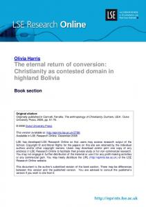 Olivia Harris The eternal return of conversion: Christianity as contested domain in highland Bolivia