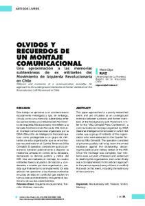 OLVIDOS Y RECUERDOS DE UN MONTAJE COMUNICACIONAL