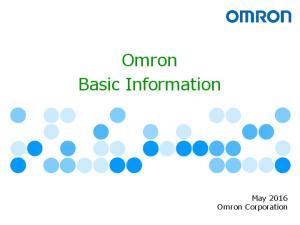 Omron Basic Information. May 2016 Omron Corporation