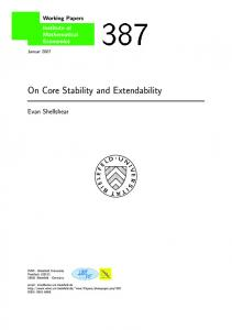On Core Stability and Extendability