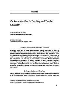 On Improvisation in Teaching and Teacher Education