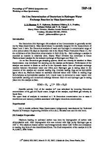 On Line Determination of Deuterium in Hydrogen Water Exchange Reaction by Mass Spectrometry