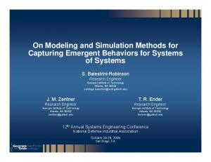 On Modeling and Simulation Methods for Capturing Emergent Behaviors for Systems of Systems