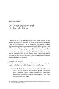 On Order, Stability, and Nuclear Abolition