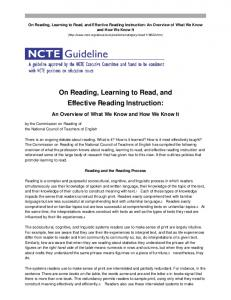 On Reading, Learning to Read, and Effective Reading Instruction: