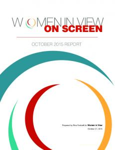 ON SCREEN OCTOBER 2015 REPORT