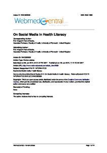 On Social Media in Health Literacy