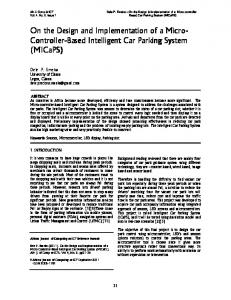 On the Design and Implementation of a Micro- Controller-Based Intelligent Car Parking System (MICaPS)
