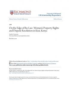 On the Edge of the Law: Women s Property Rights and Dispute Resolution in Kisii, Kenya