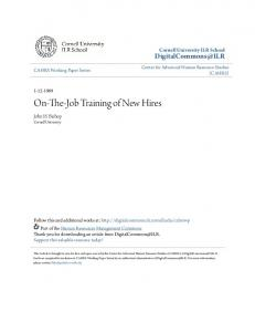 On-The-Job Training of New Hires