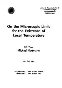 On the Microscopic Limit for the Existence of Local Temperature