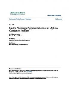 On the Numerical Approximations of an Optimal Correction Problem