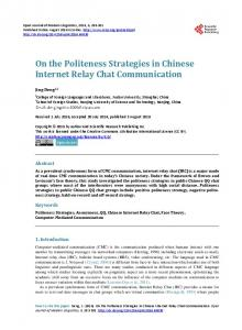 On the Politeness Strategies in Chinese Internet Relay Chat Communication