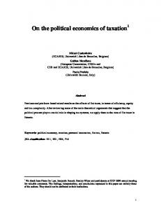 On the political economics of taxation 1