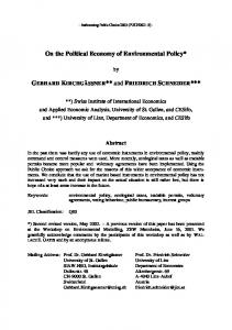 On the Political Economy of Environmental Policy*