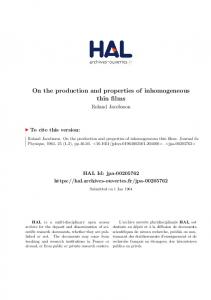 On the production and properties of inhomogeneous thin films