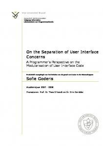 On the Separation of User Interface Concerns
