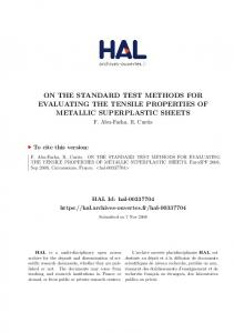 ON THE STANDARD TEST METHODS FOR EVALUATING THE TENSILE PROPERTIES OF METALLIC SUPERPLASTIC SHEETS