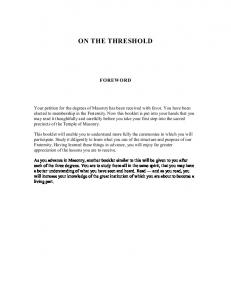 ON THE THRESHOLD FOREWORD
