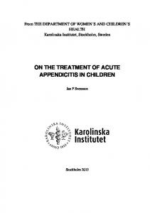 ON THE TREATMENT OF ACUTE APPENDICITIS IN CHILDREN